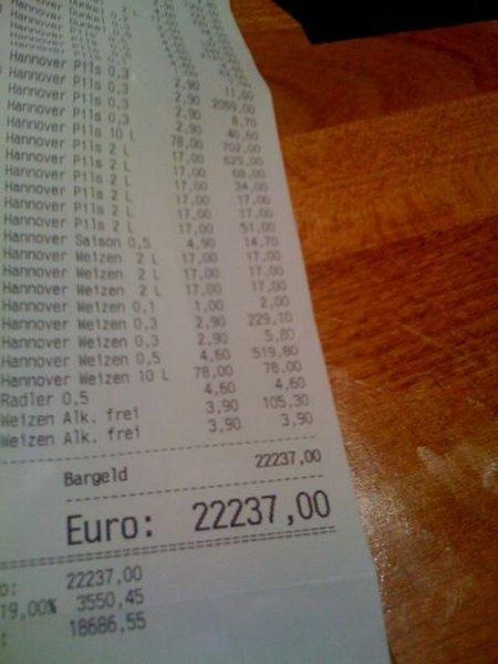 PubCon Rechnung 2009: € 22237,-