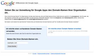 Google Apps für eigene Domäne einrichten - Startbildschirm