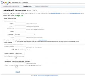 Ersten Kontoadministrator für Google Apps anlegen