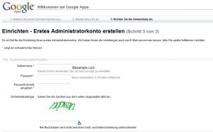 Domänenadministrator als ersten User in Google Apps anlegen