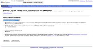 Google Apps Domänenverifizierung via CNAME-Eintrag