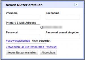 Neuen Google Apps Nutzer mit Passwortvergabe anlegen