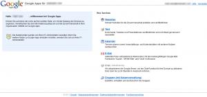Google Apps Services Menü für neuen Nutzer